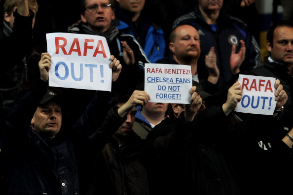 Chelsea fans protest over the signing of manager Rafael Benitez