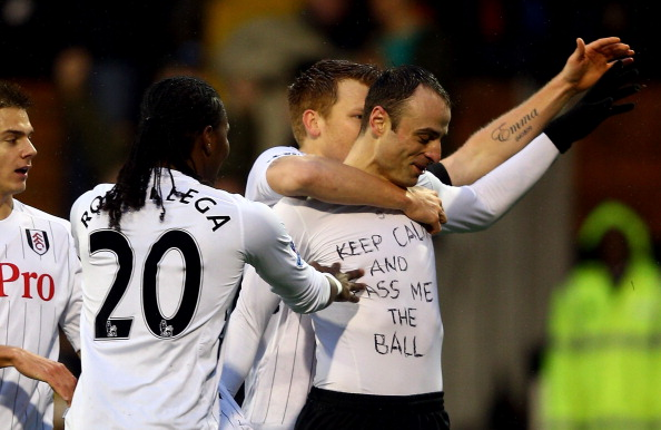 Dimitar Berbatov showing his self-belief on his shirt.