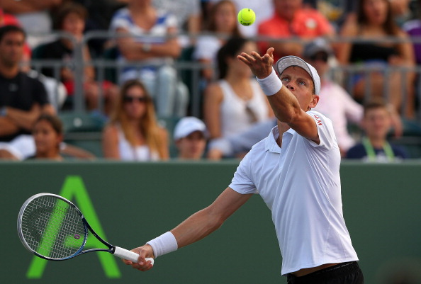 KEY BISCAYNE, FL - MARCH 25:  Tomas Berdych of the Czech Republic plays a match against Alejandro Falla of Columbia during day eight of the Sony Open at Crandon Park Tennis Center
