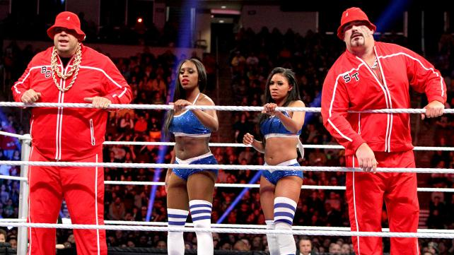 Brodus Clay and Tensai with the Funkadactyls Naomi and Cameron