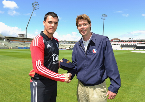Peter Burgoyne is presented his Under19's cap by former player Nick Knight before the Under 19 International between England and South Africa.
