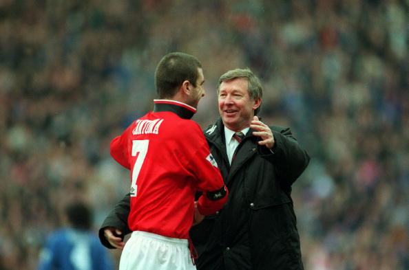 Sport. Football. pic: 31st January 1996. FA.Cup Semi-Final at Villa Park. Machester United 2.v Chelsea 1. Manchester United Manager Alex Ferguson celebrates the victory with his captain Eric Cantona.