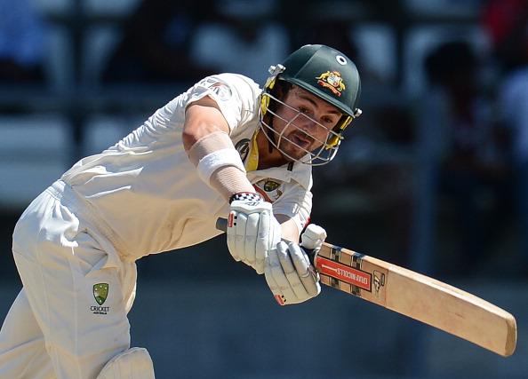 Australian batsman Ed Cowan plays a shot