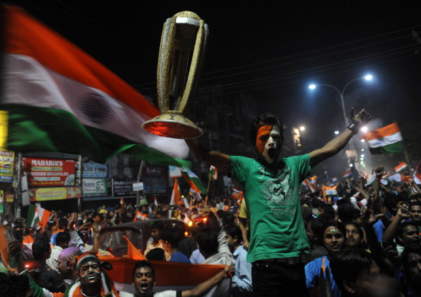 Indian cricket fans celebrate victory ov