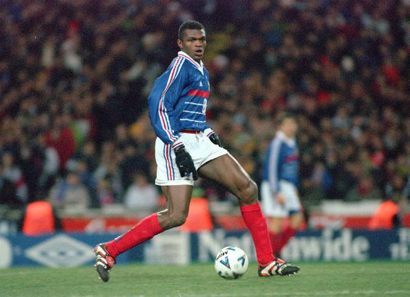 Football. 1999 International Friendly. Wembley. 10th February, 1999. England 0 v France 2. France's Marcel Desailly on the ball
