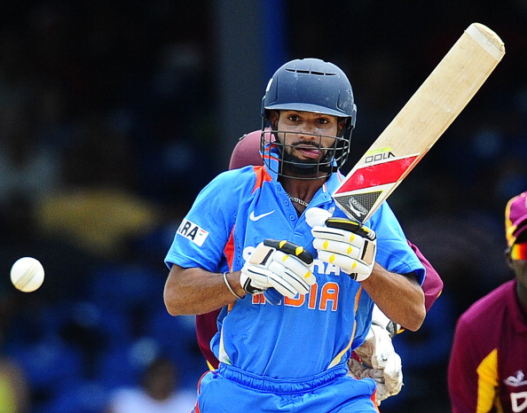 Indian batsman Shikhar Dhawan plays a sh