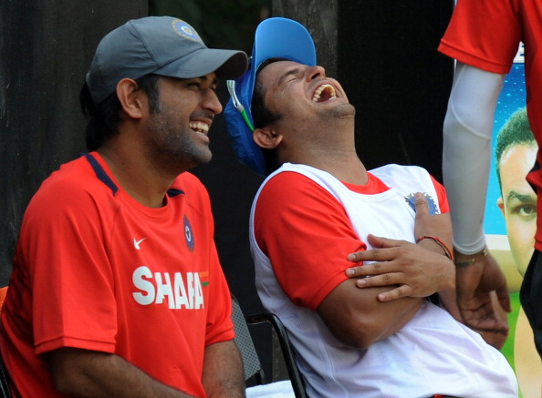 Indian cricketers Mahendra Singh Dhoni (