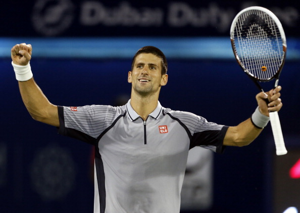Serbia's Novak Djokovic reacts after defeating Czech Republic's Tomas Berdych 7-5 and 6-4 during their ATP Dubai Open tennis final match in the Gulf emirate on March 2, 2013.