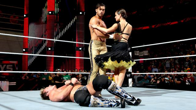 Fandango dancing, with Jericho down and out in the middle of the ring