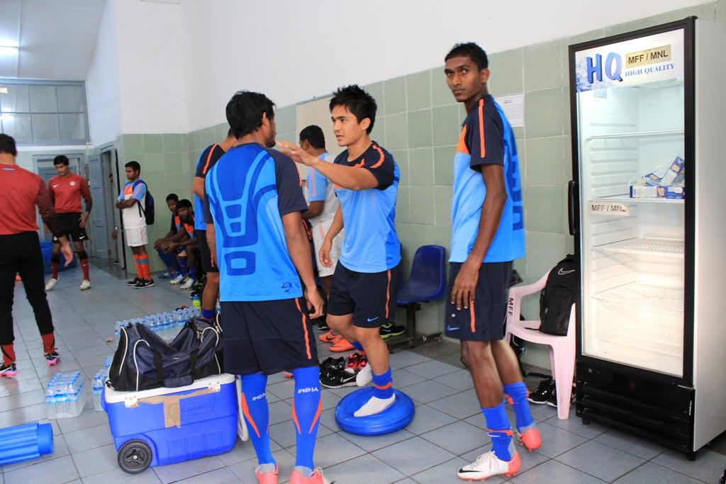(From left) Syed Rahim Nabi, Sunil Chhetri and Lenny Rodrigues chat among themselves in Yangon.