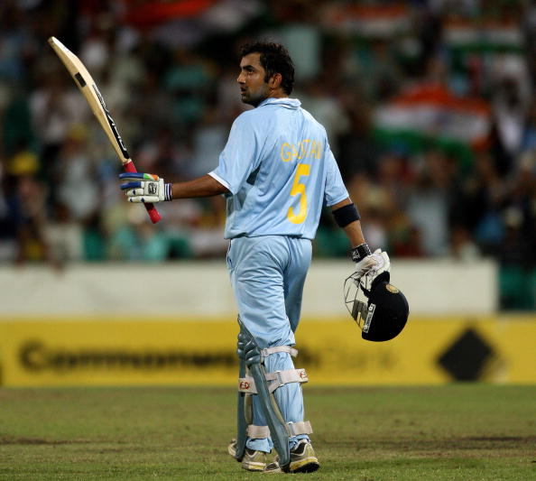 India's Gautam Gambhir raises his bat after reaching his century during the triangular one-day cricket series match against Australia in Sydney on February 24, 2008. Gambhir was later out on 113 runs as India chase Australia's total of 317.