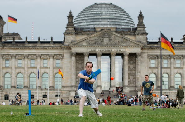 Cricket Players In Front Of The Reichstag