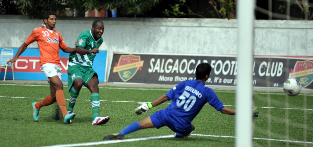Goalmouth action from the match between Salgaocar and Sporting Clubde De Goa.