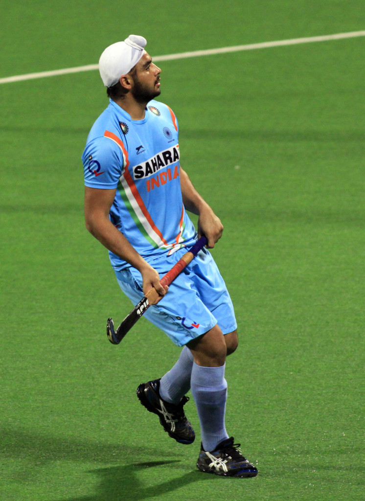 Hero Hockey World League 2013 Gurjinder Singh of India during warm up session at Delhi on 23rd Feb 2013
