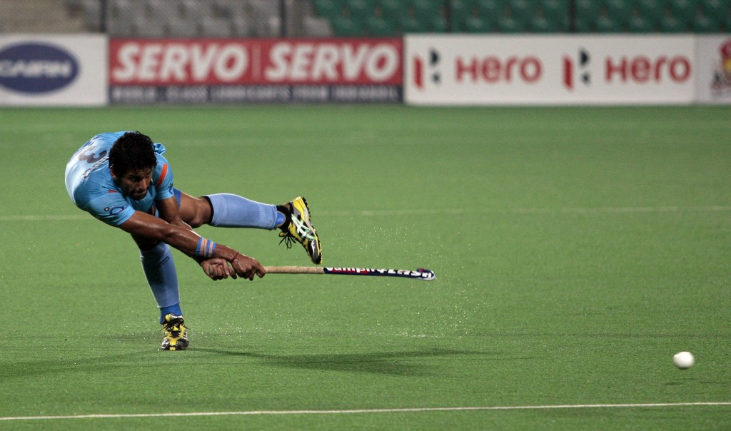 Hero Hockey World league 2013 Rupinder Pal Singh of India in action against Ireland during the match at Delhi on 21st Feb 2013 (1)