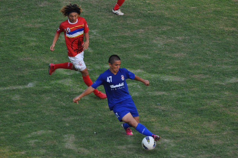 India Captain Sunil Chhetri in action at the Ambedkar Stadium on Saturday.