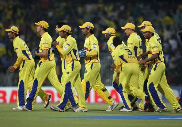 Chennai Super Kings  walk onto the field