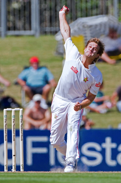 Zimbabwe's Kyle Jarvis bowls on day one