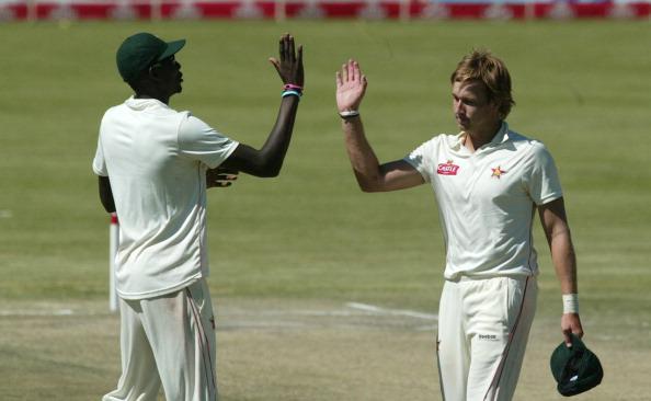Zimbabwe bowler Kyle Jarvis is congratul