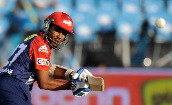 New Delhi Daredevils captain Mahela Jayawardene plays a shot during the IPL Twenty20 cricket match between Pune Warriors India and Delhi Daredevils at The Sahara Stadium in Pune on April 24, 2012.