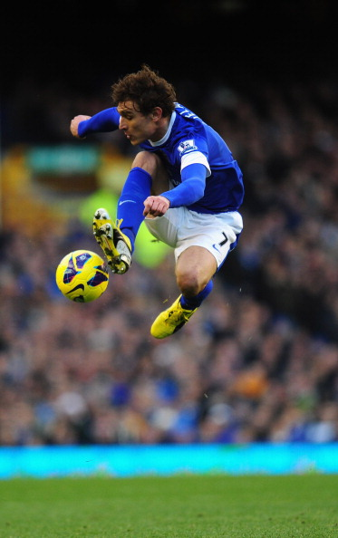 Everton player Nikica Jelavic in action
