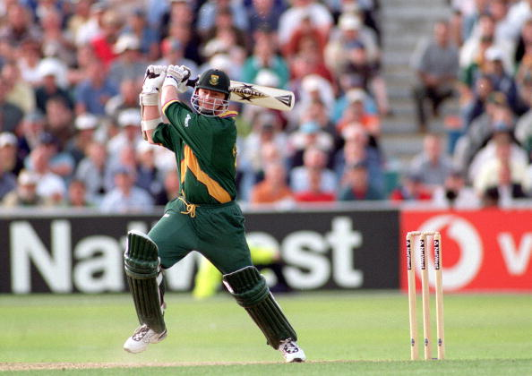 1999 Cricket World Cup Semi Final. Edgbaston. 17th June, 1999. Australia v South Africa. Match Tied. South Africa's Lance Klusener batting.