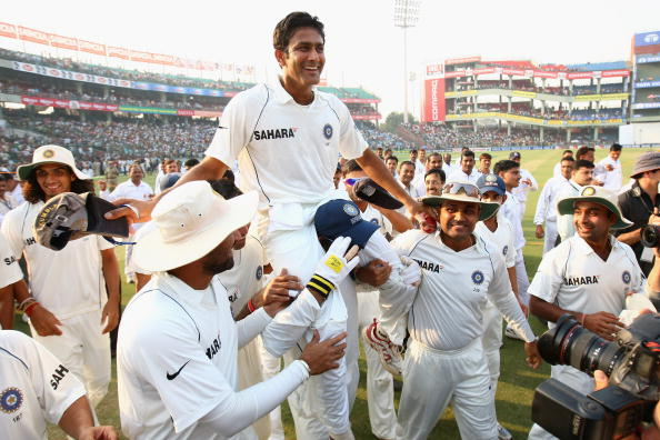 Indian captain Anil Kumble is chaired round the pitch on a lap of honour by his team mates after announcing his retirement from Test cricket during day five of the Third Test match between India and Australia at the Feroz Shah Kotla Stadium on November 2, 2008