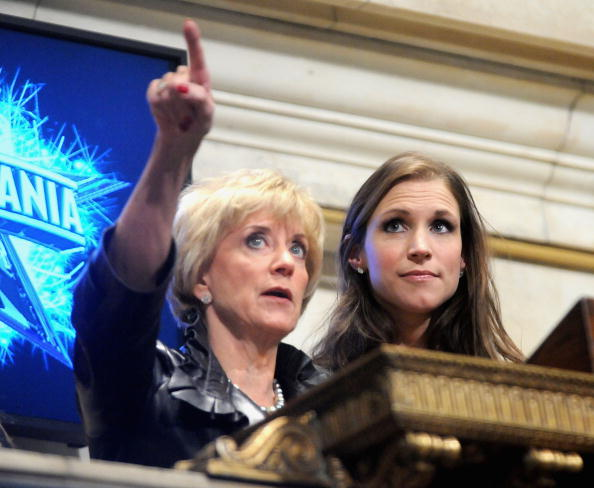WWE CEO Linda McMahon Rings The New York Stock Exchange Opening Bell