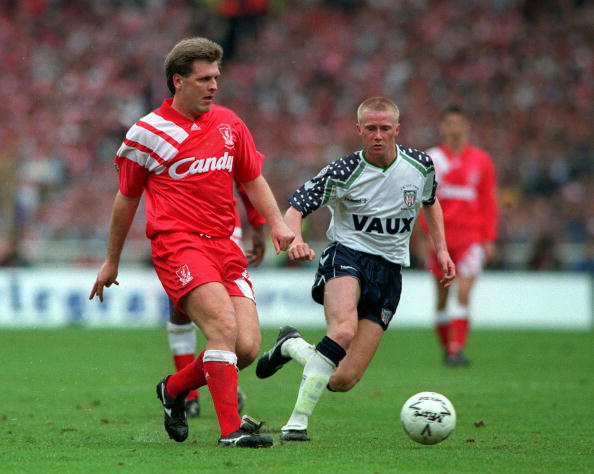 Football. 1992 FA Cup Final. Wembley. 9th May, 1992. Liverpool 2 v Sunderland 0. Liverpool's Jan Molby on the ball.