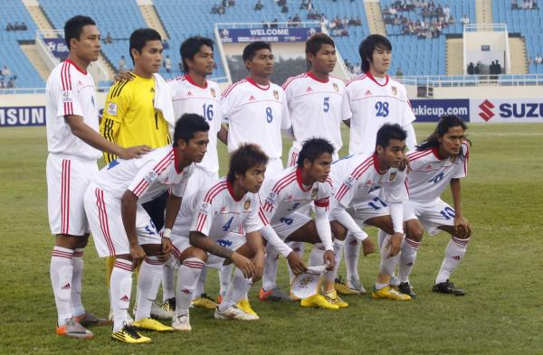 Myanmar's team players pose prior to the