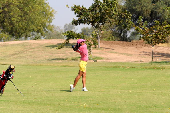 Indian golfer Shreya Ghei of Delhi plays