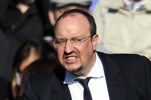 Rafael Benitez at an FA Cup football match between Chelsea and Brentford at Stamford Bridge on February 17, 2013
