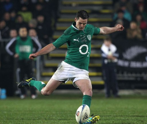 Ireland's Jonathan Sexton kicks a penalty at AMI Stadium in Christchurch on June 16, 2012