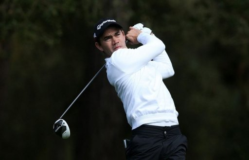 Camilo Villegas of Colombia hits a shot at Spyglass Hill on February 8, 2013 in Pebble Beach, California