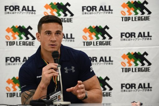 Sonny Bill Williams attends a press conference in Tokyo on September 1, 2012