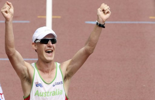 Australian race walker Nathan Deakes, pictured in Osaka, Japan, on on September 1, 2007
