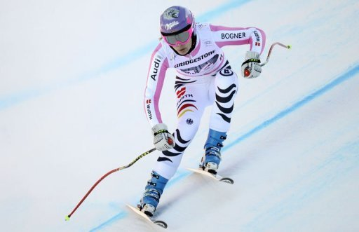 German Maria Hoefl-Riesch takes part in a training run in Garmisch-Partenkirchen, February 28, 2013