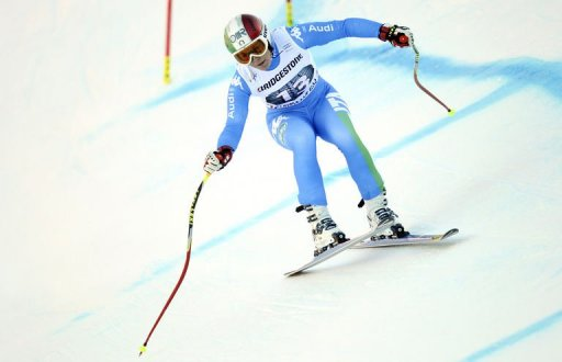 Italian Daniela Merighetti takes part in a training run at Garmisch-Partenkirchen, Germany, on February 28, 2013