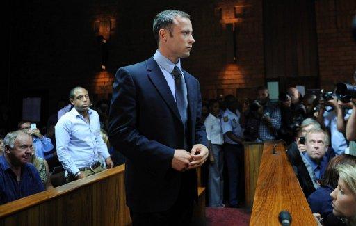 Oscar Pistorius at Pretoria Magistrates Court on February 22, 2013