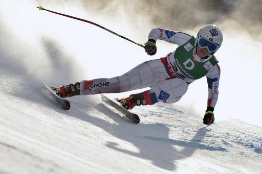 Tina Weirather in the women's downhill event at the Ski World Championships in Schladming, Austria on February 10, 2013