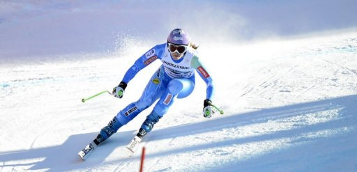 Slovenian Tina Maze during a training run in Garmisch-Partenkirchen, southern Germany, on February 28, 2013