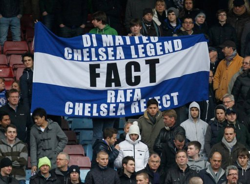 Chelsea supporters hold a banner against Rafael Benitez during a match against West Ham in London on December 1, 2012
