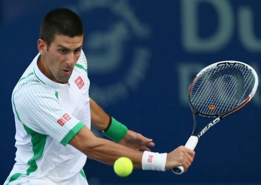 Serbia's Novak Djokovic returns the ball to Argentina's Juan Martin Del Potro on March 1, 2013