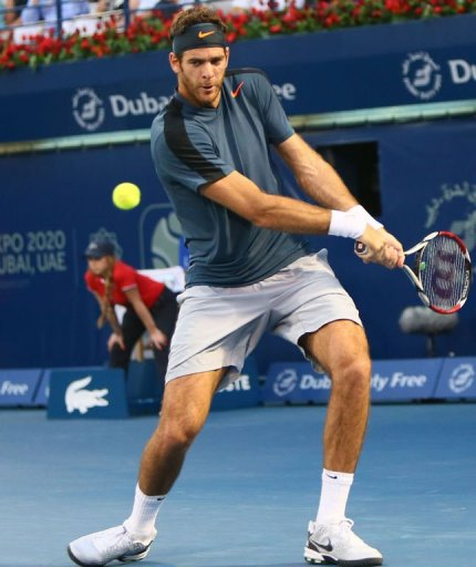 Argentina's Juan Martin Del Potro returns the ball to Serbia's Novak Djokovic on March 1, 2013