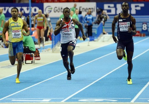 From L: Sweden's Odain Rose, Britain's Dwain Chambers and Norway's Jaysuma Saidy Ndure compete on March 1, 2013