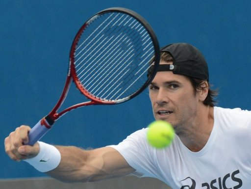 Germany's Tommy Haas plays a stroke on January 13, 2013
