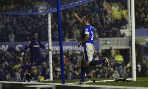 Everton's Leon Osman celebrates scoring against Oldham Athletic on February 26, 2013