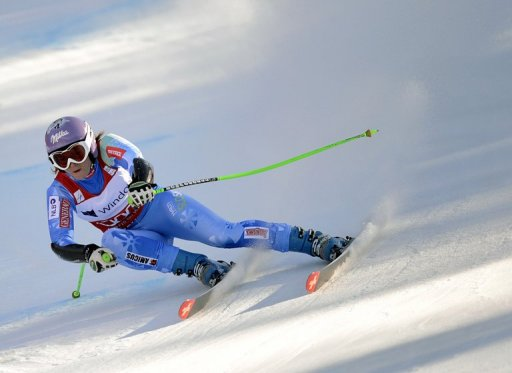 Slovenian Tina Maze breaks the record for the most World Cup points collected in a season, Germany on March 1, 2013