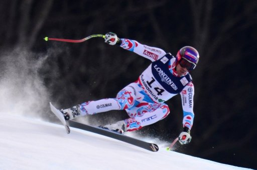 France's Adrien Theaux at the 2013 Ski World Championships in Schladming, Austria on February 11, 2013