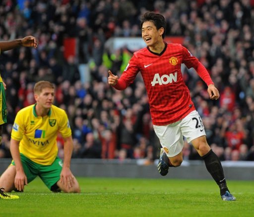 Manchester United's Shinji Kagawa celebrates scoring at Old Trafford stadium in Manchester on March 2, 2013